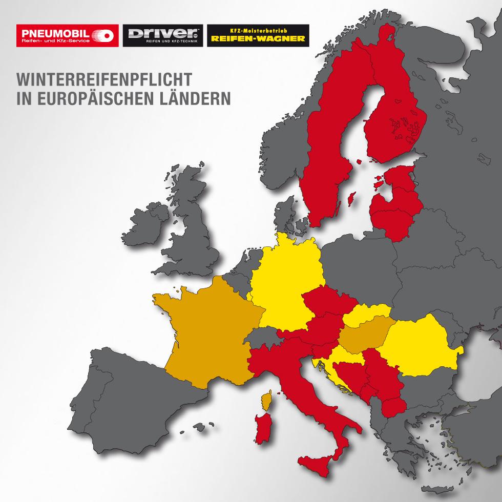 Winterreifenpflicht in europäische Länder